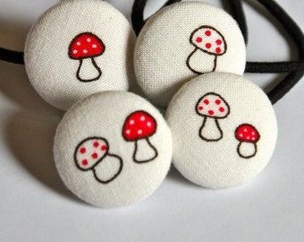 50% OFF everything in store today - see shop for details - red and white mini mushrooms - set of four fabric button ponytail holders