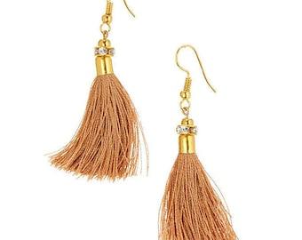 CLEARANCE SALE Beige Tassel earring,brown gold tassel festival jewelry-fringe earrings-Boho earring-Bohemian Gypsy jewelry-Coachella AE515BR
