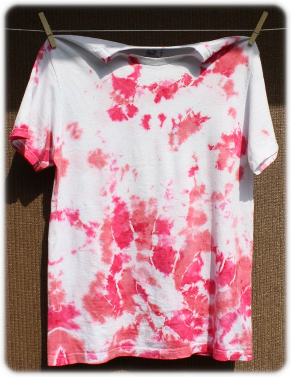 Hand Dyed Baby Pink Watercolor Womens Tie Dye T-Shirt