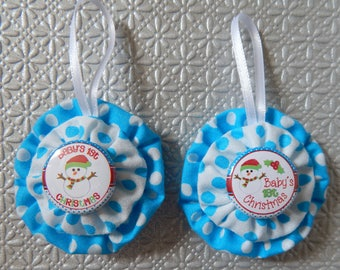Baby's First Christmas Yo Yo Ornaments Set of 2 - Blue and White Dots