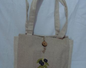 linen pattern olive - unique handbag