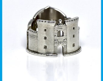 Silver ring with the skyline of Naples, Bridesmaid Gift for him or for her, Jewelry made in Italy