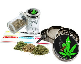 "Smoking Leaf - 2.5"" Zinc Alloy Grinder & 75ml Locking Top Glass Jar Combo Gift Set Item # G022015-006"
