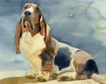 Basset Hound Dog Art Print of my watercolor painting