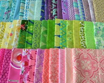 DESTASH 12 cotton quilt fabric fat quarter cool OR warm colors