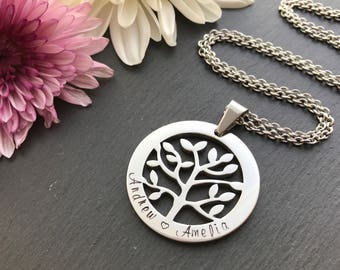 Personalised Tree of life Necklace - Mothers Day Gift - Tree of life jewelry - Personalised Necklace - Hand Stamped Jewelry - Australia