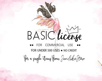Basic Commercial License -for a Single Product -NO Credit Required- up to 500 sell - Watercolor Clipart, Digital Paper, Prints, SunlikeStar