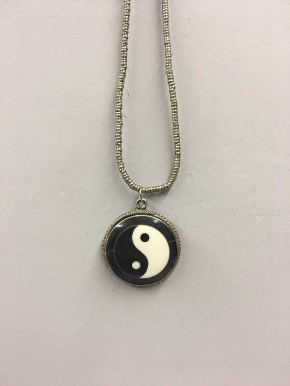 Pendant Yin and Yang Chinese Necklace Handmade Black Horn Dark White Bone  Necklace Jewelry Spiritual Unique Tribal