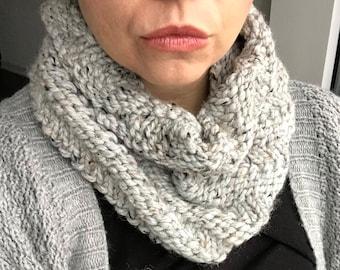 Ready to ship! Chunky Knit Cowl Infinity Scarf Light Grey