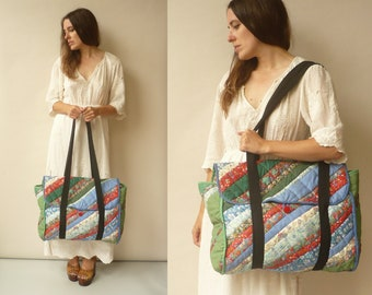 1980's Vintage Patchwork Quilted Oversized Shoulder Bag Made With Liberty Of London Fabric