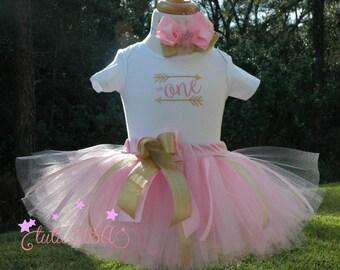 First birthday outfit,Baby Girl 1st Birthday,Pink and Gold 1st Birthday Outfit,1st Birthday tutu outfit,wild one tutu set,cake smash tutu
