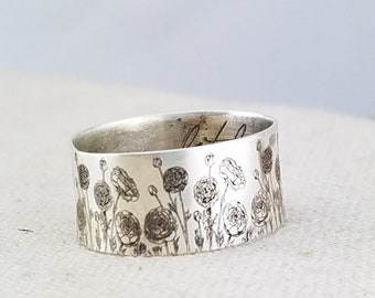 Personalized Ring · Inspiration Ring · Personalized Floral Ring  · Handwriting Ring · Mixed Metal Ring · Ranunculus Ring · Love Ring