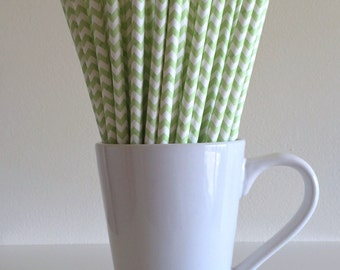 Light Green Chevron Paper Straws Party Supplies Party Decor Bar Cart Cake Pop Sticks Mason Jar Straws  Party Graduation