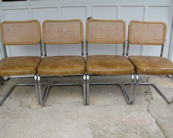 Four Mid Century Modern Chrome and Cane Kitchen Dining Chairs