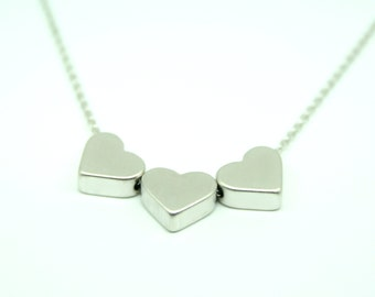 Three heart necklace, wedding necklace, valentine necklace, brides necklace, silver heart necklace, bridesmaid necklace