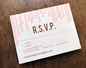 Printable RSVP Card - Response Card Download - Instant Download - RSVP Template - Response Card - Hanging Pink Garlands - Pink & Brown rsvp