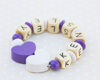 Beaded bracelet - kids bracelet - toddler bracelet - wooden bead bracelet - kids jewelry - personalized bracelet - heart bracelet
