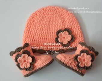 Crochet baby set, baby booties and hat, baby shoes, boots,baby beanie, brown, peachy orange, salmon, 0-3, 3-6 months, gift idea, baby shower