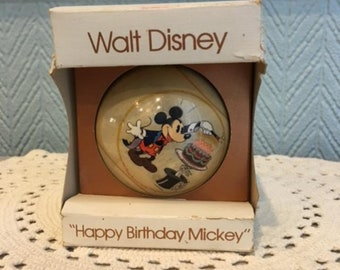 "Vintage Walt Disney ""Happy Birthday Mickey"" ornament"