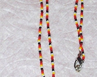 Native American Beaded Necklace W/ Beaded Rosette