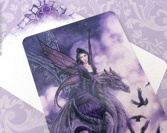 Gothic fairy dragon art postcard, meredith dillman illustration