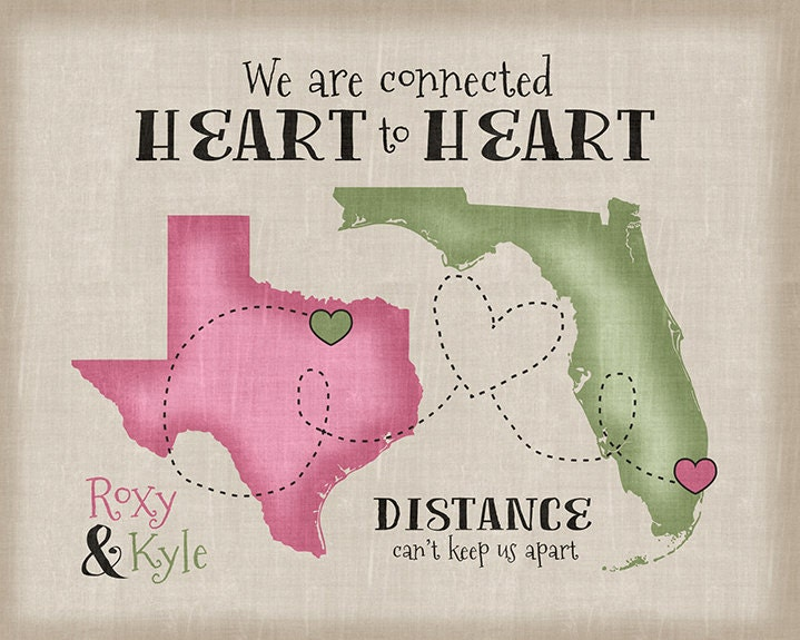 Long Distance Relationship Gift Quote Personalized Art