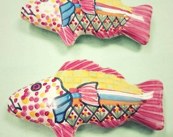 Colorful Fish from Mexico drawer pull pair (2)