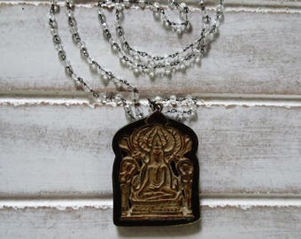 "Large Meditating Buddha Pendant Necklace | Quartz Crystal Precious Stones | 28"" Long | Crystal Healing | FREE US SHIPPING"