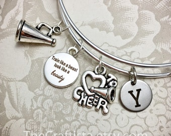CRB, Personalized Cheerleader Bracelet, Cheerleader Bangle, Cheerleader Charm, Cheerleader Gifts, Adjustable Bangle, Cheer Bangle, Initials