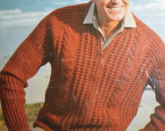Men's zip up cardigan windcheater jacket vintage knitting pattern pdf INSTANT download pattern only pdf 1970s