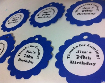 30th 40th 50th 75th Birthdays and Anniversary Party Tags Party Favors Pick Your Colors