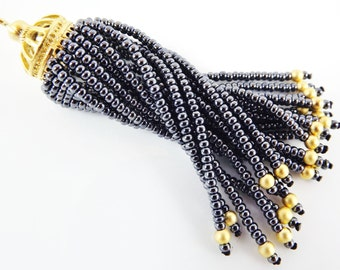 Long Graystone Beaded Tassel - 22k Matte Gold Plated Brass - 1PC