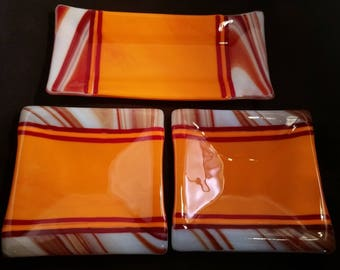 orange and swirls fused glass sushi serving set, incudes (1) 10 inch serving platter and (2) 6 inch plates