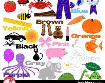 Lehre-Farben-Cliparts: Digitale Clipart Pack (300 dpi) Lehrerin ClipArt Worte Farben Kindergarten Pre-K