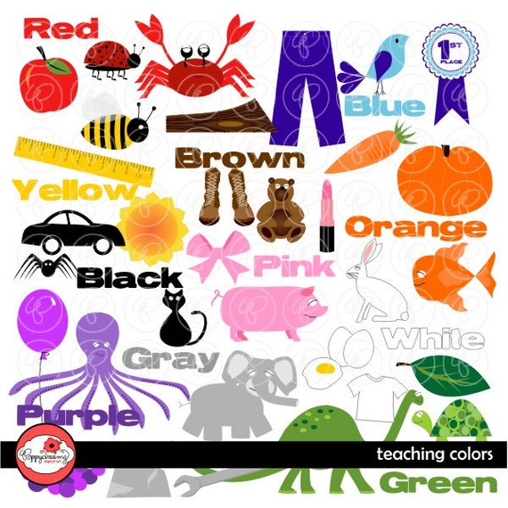 teaching colors clipart digital clipart pack 300 dpi school teacher clip art words colors kindergarten pre k from poppydreamz on etsy studio