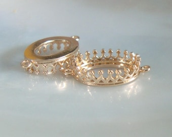 4 pcs, 18K Gold Plate Oval Crown Setting with 2 ring Connector, 21x12mm, E-009