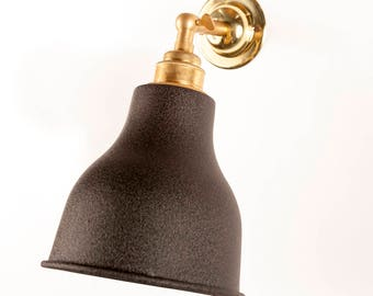 Alvin Black Suede Shade Brass Wall Light