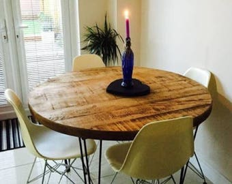 Industrial Rustic Reclaimed ROUND Hairpin Dining Table