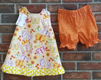 SAMPLE SALE: Reversible Crisscross Dress/Tunic and Bloomers 3T