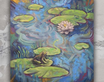 """Large Wall Art Lily Pads Frog """"Lily Pad Pond 3"""" Original Painting on Canvas 40"""" inches"""