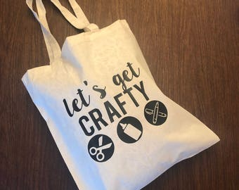 Let's Get Crafty Tote Bag, Canvas Tote Bag, Crafter Tote Bag/Gift, Scrapbooker Gift, Party Favor, Crop Party Favor