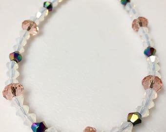 Pink and White Cyrstal Bracelet