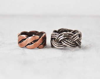 2 Vintage Braided Band Rings - copper and silver tone wire thick sturdy braided ring set  - Size 6 and 6.5