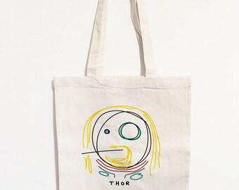 Thor Minimalistic Doodle Tote Bag