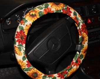 Sunflower Steering wheel cover / Floral wheel cover /Yellow green wheel cover /hostess gift idea /women;s wheel cover / car accessories .