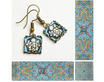 Blue flower pattern square small cabochon earrings... vintage bronze dangle earrings, glass dome earrings, stud earrings with cabochon