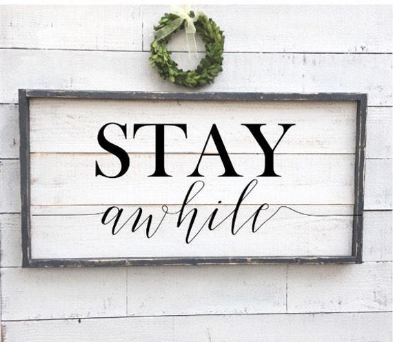 Stay Awhile Framed Shiplap Vintage Wood Sign