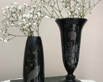 Vintage Black Amethyst Glass Vases with Silver Overlay