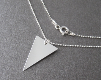 Fine necklace silver elongated triangle 925 sterling