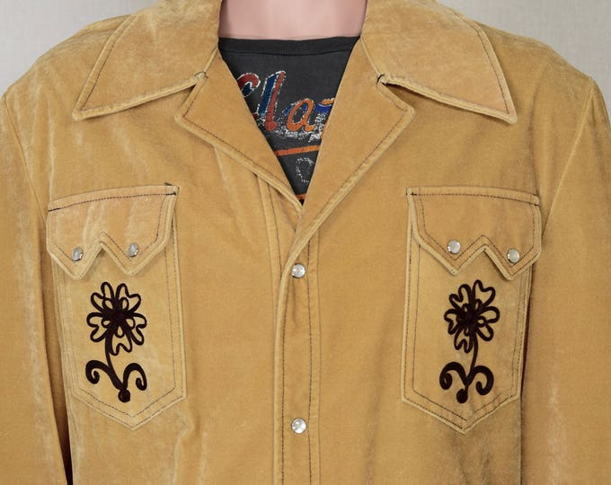 NOS Vintage 1960's 70's Men's Western Velvet Embroidered HiPPiE Rock Star Jacket Size XL